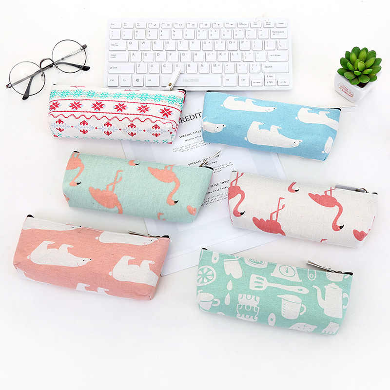Kawaii Cute Flamingo bear Canvas Pencil Case Storage Organizer Pen Bags Pouch Pencil Bag School Supply Stationery