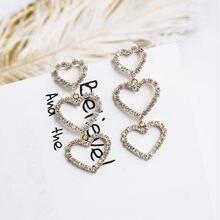 Novo coreano oco brilhante strass amor coração gota balançar brincos para feminino meninas temperamento festa pendientes jóias 6m2032