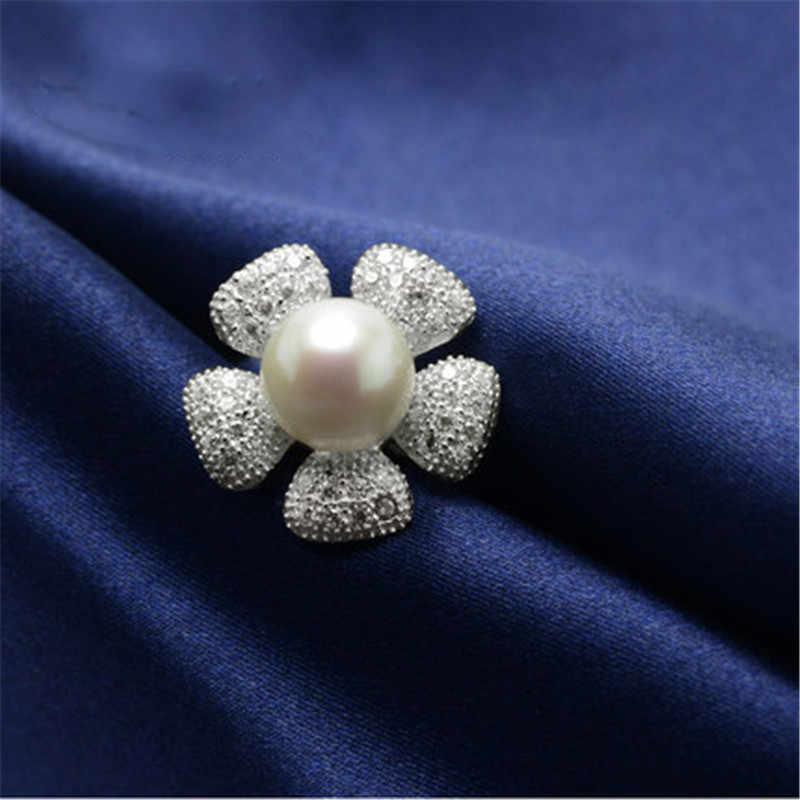 YIKALAISI 925 فضة مجوهرات خواتم للنساء جديد اللؤلؤ خاتم عباد الشمس حلقة المياه العذبة اللؤلؤ خواتم الزفاف