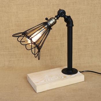 Modern iron wood desk light adjustable Iron lampshade E27 table lamp LED/Edison light for bedroom restaurant Cafe 220v