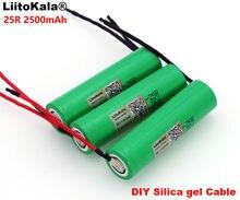 5 sztuk .. Liitokala nowy 18650 2500 mAh akumulator 3.6 V INR18650-25R 20A absolutorium + DIY żel krzemionkowy kabel