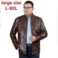 2018 New large size 8XL Arrival Leather Jackets Men's jacket male Outwear Men's Coats Spring & Autumn PU Jacket De Couro Coat