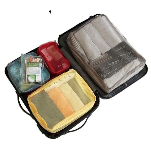 4PCS/Set Brand Travel Mesh Storage Packing Cubes Bag In Bagduffle Clothes  Organizer Case Pouch