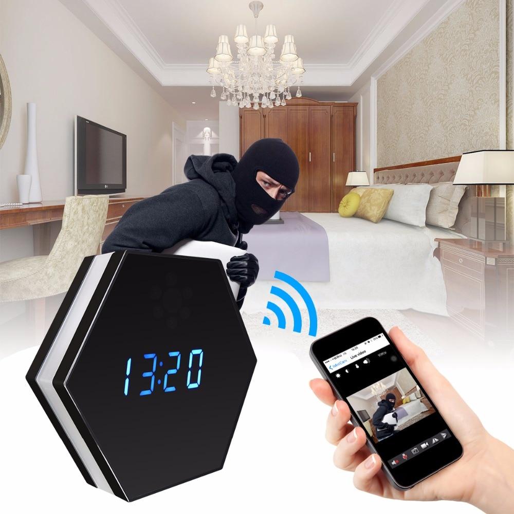 Мини часы для камеры HD 1080P WiFi умные зеркальные часы с ночным видением двухстороннее аудио Обнаружение движения Красочный Светодиодный свет kamera - 2