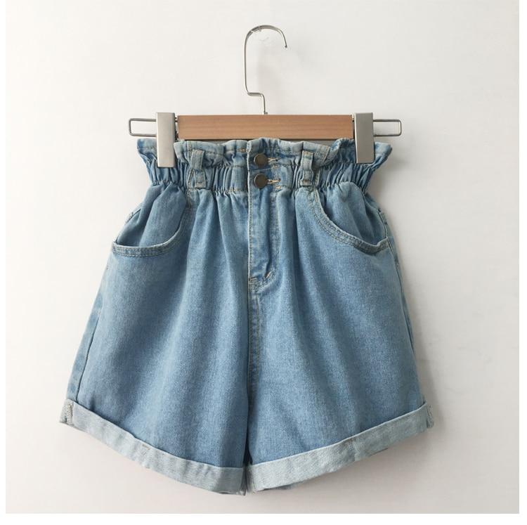 Roll Up Hem Elastic Waist Pocket Blue White Jeans Female 30
