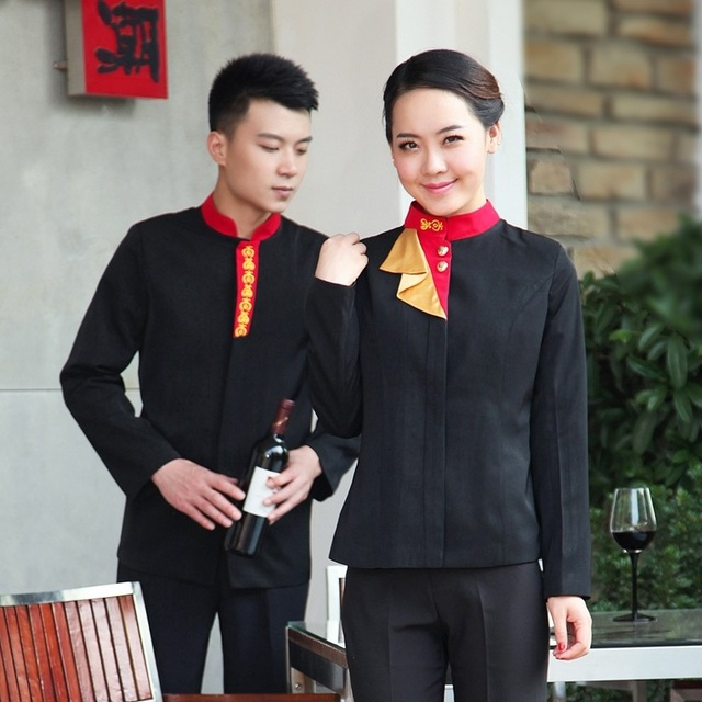 65e78d64c Hotel Waiter Uniform Autumn Winter Restaurant Waitress Clothing Chinese  Western Food Service Work Wear Chef Jacket