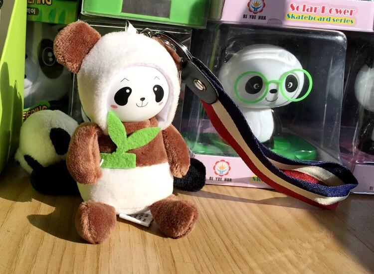 Мультяшная фигура брелок Панда брелоки для женщины сумки аксессуары Шарм Подвеска плюшевая мягкая игрушка повязка на запястье брелок для ключей, подарочный