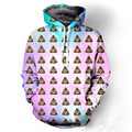 Harajuku Style Colorful Rainbow Galaxy Sweatshirts Cute Poo Emoji 3d Hoodies Pullovers Women Casual Hooded Outerwear Tracksuit