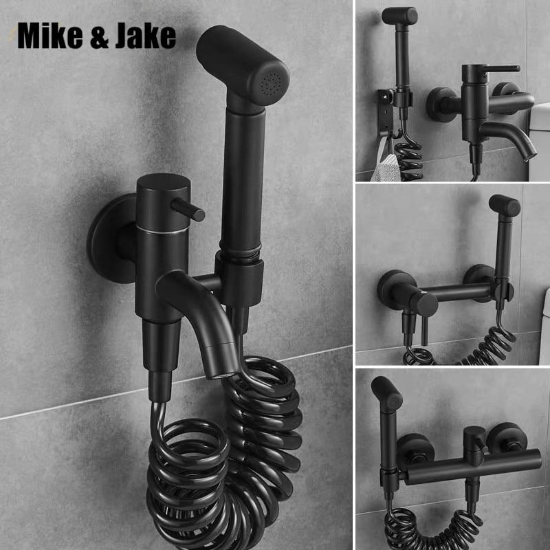 Bathroom hot and cold bidet tap with bidet shower black bidet shower Brass wall mounted woman