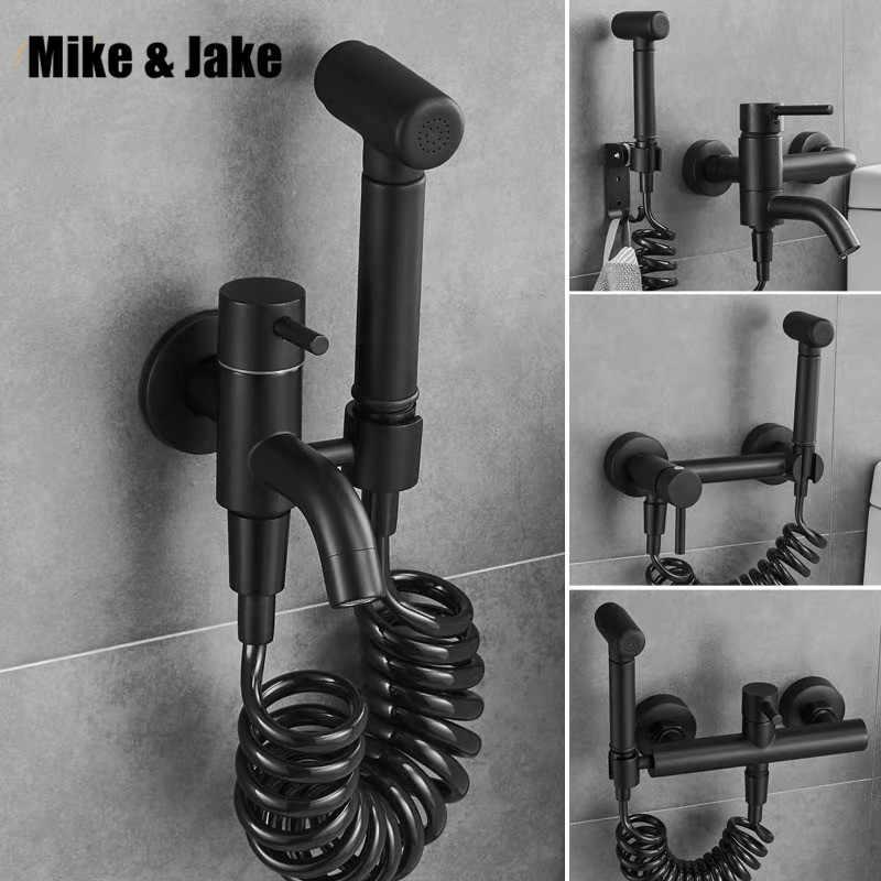 Banyo sıcak ve soğuk bide musluk bide duş siyah bide duş Pirinç duvara monte kadın yıkayıcı paspas dokunun shattaf seti