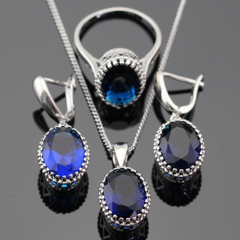 Made In China Oval Blue Created Sapphire Jewelry Sets For