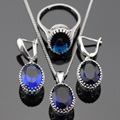Made in China Oval Blue Created Sapphire Jewelry Sets For Women Silver Color Necklace Pendant Earrings Rings Free Gift Box