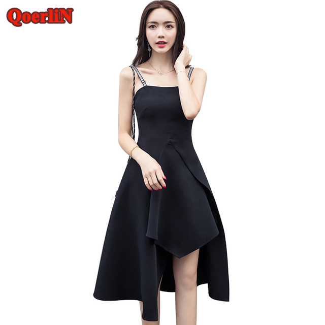 Qoerlin Hot Black Vintage Sleeveless Strap Irregular Dress Women