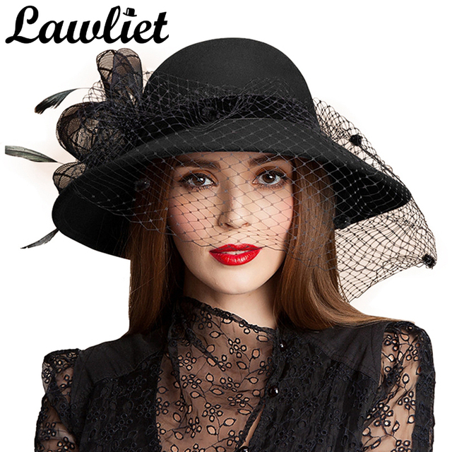 Negro mujeres lana Floral velo red plumas sombrero de ala ancha Derby Floppy  sombrero ocasión Formal fe3761b0059