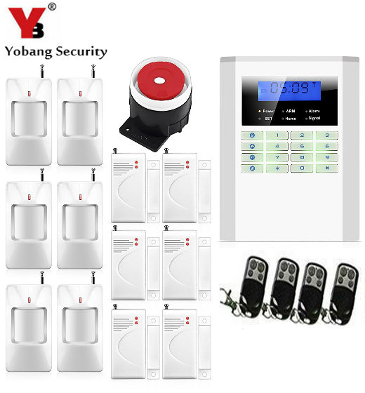 SmartYIBA 99 Wireless 2 Wired Zone Dual Network GSM PSTN Burglar Alarm System LCD Keyboad Russian Spanish French Italian Voice free shipping 99 wireless zone and 2 wired quad band lcd home security pstn gsm alarm system 3 pet immune pirs 5 new door sensor