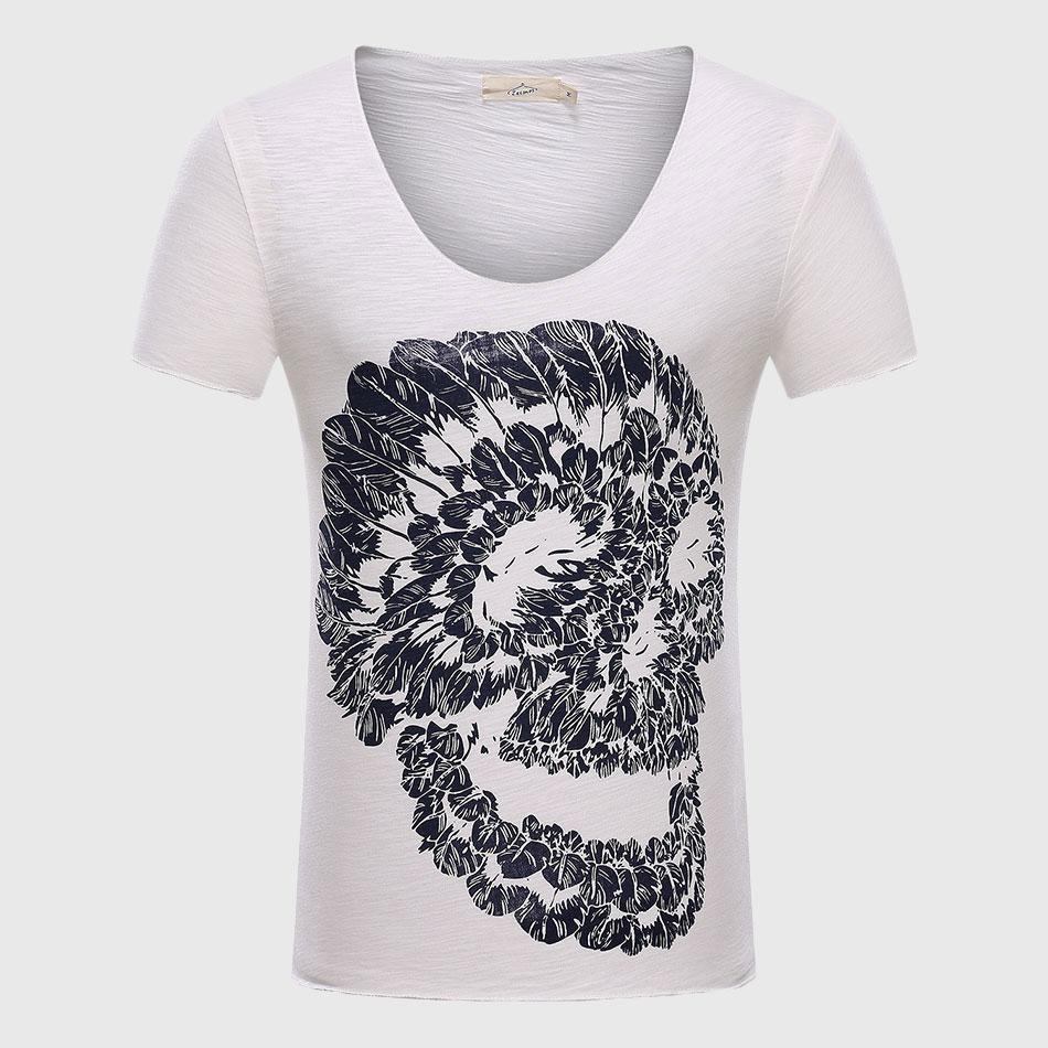 Männer Schädel 3D T Shirts Baumwolle Graphic Tees Tops V-ausschnitt - Herrenbekleidung - Foto 3