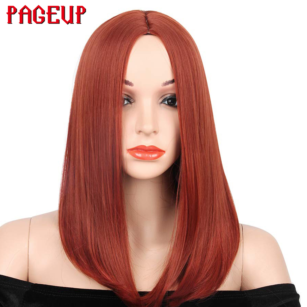 Pageup 14 Inch Long Straight Dark Orange/Copper Red Straight Bob Hair Wigs For Women Synthetic Hair Full Head Cosplay Wigs