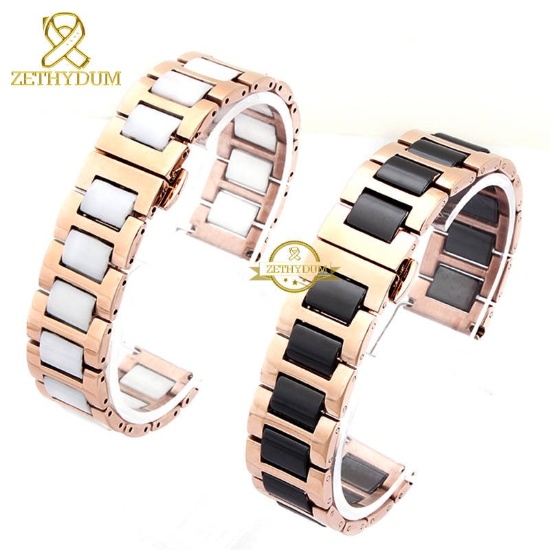 Image 3 - Ceramic bracelet in stainless steel watchband watch strap women man wristwatches band 12 14 16 18 20 22mm white Butterfly buckle-in Watchbands from Watches