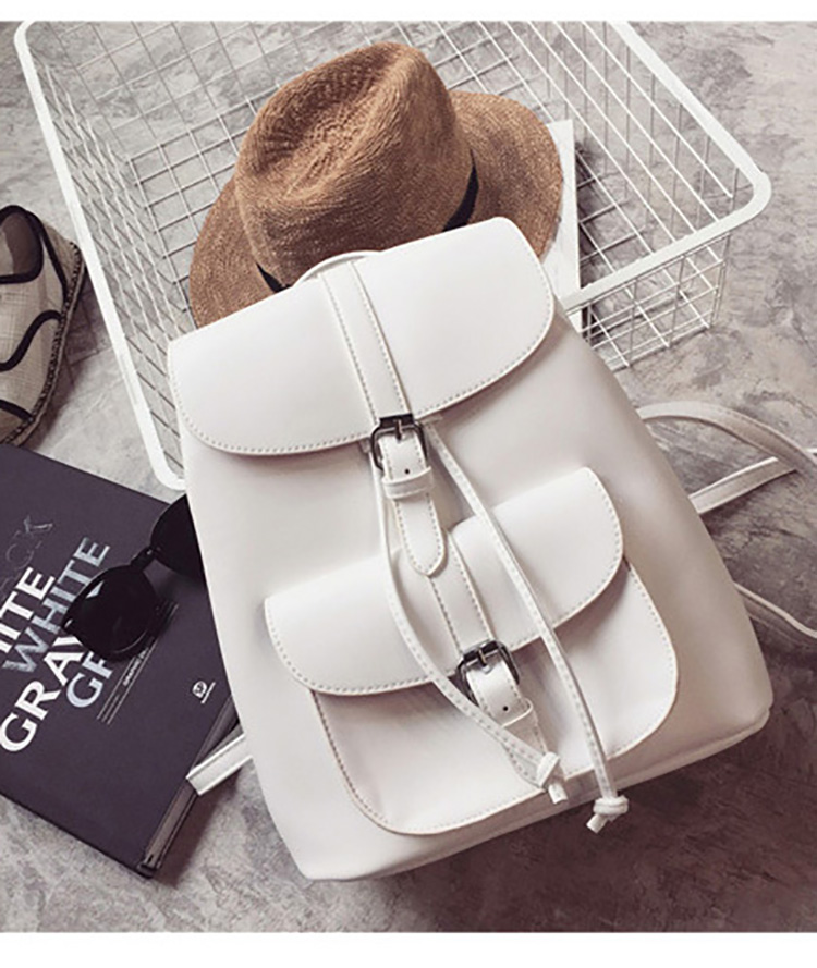Female Drawstring Leather Backpacks For Teenage Girls Students Small School Bags Women High Quality Casual Ladies' Backpack