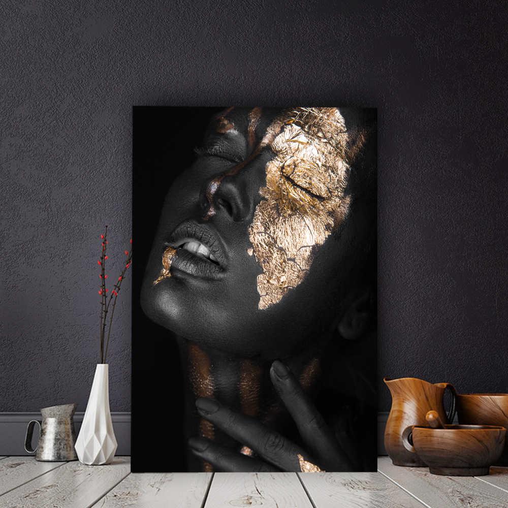 الذهب الأسود عارية امرأة الفن الأفريقي النفط الطلاء على قماش كوادروس الملصقات والمطبوعات الاسكندنافية جدار صور لغرفة المعيشة