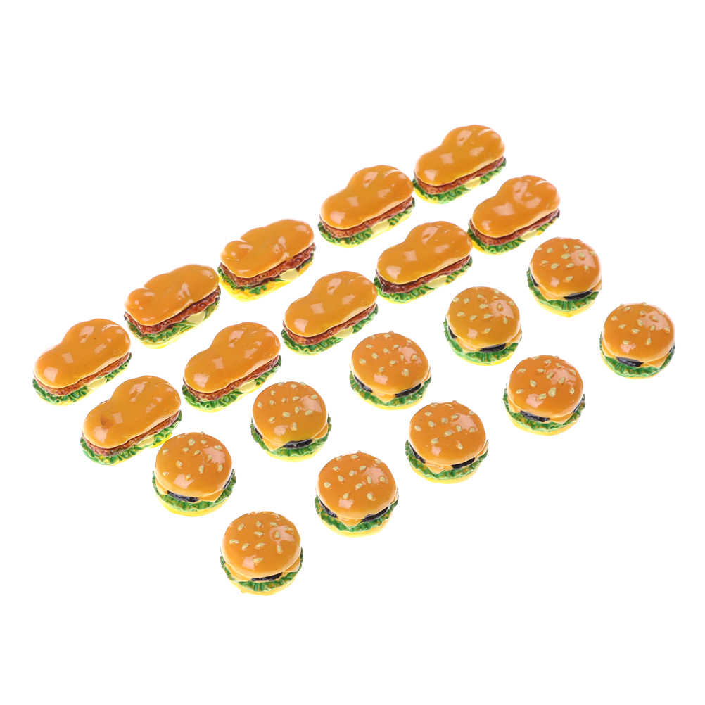 新 2 スタイルハンバーガーミニミニチュア食品置物アニメアクションフィギュア玩具家の庭の装飾 Diy アクセサリー