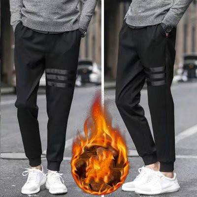 Men's Sweatpants Plus Velvet Thickening Pants Male Autumn Winter Black Casual Pants Youth Trend Small Feet Harness Trousers