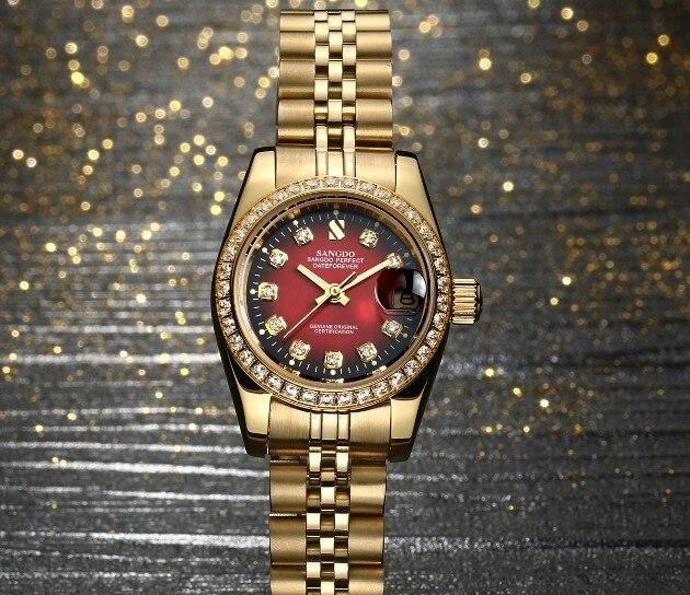 28 мм SANGDO Самовзводные движение высокое качество роскошные Для женщин часы покрытие 18KY механические часы 012 s