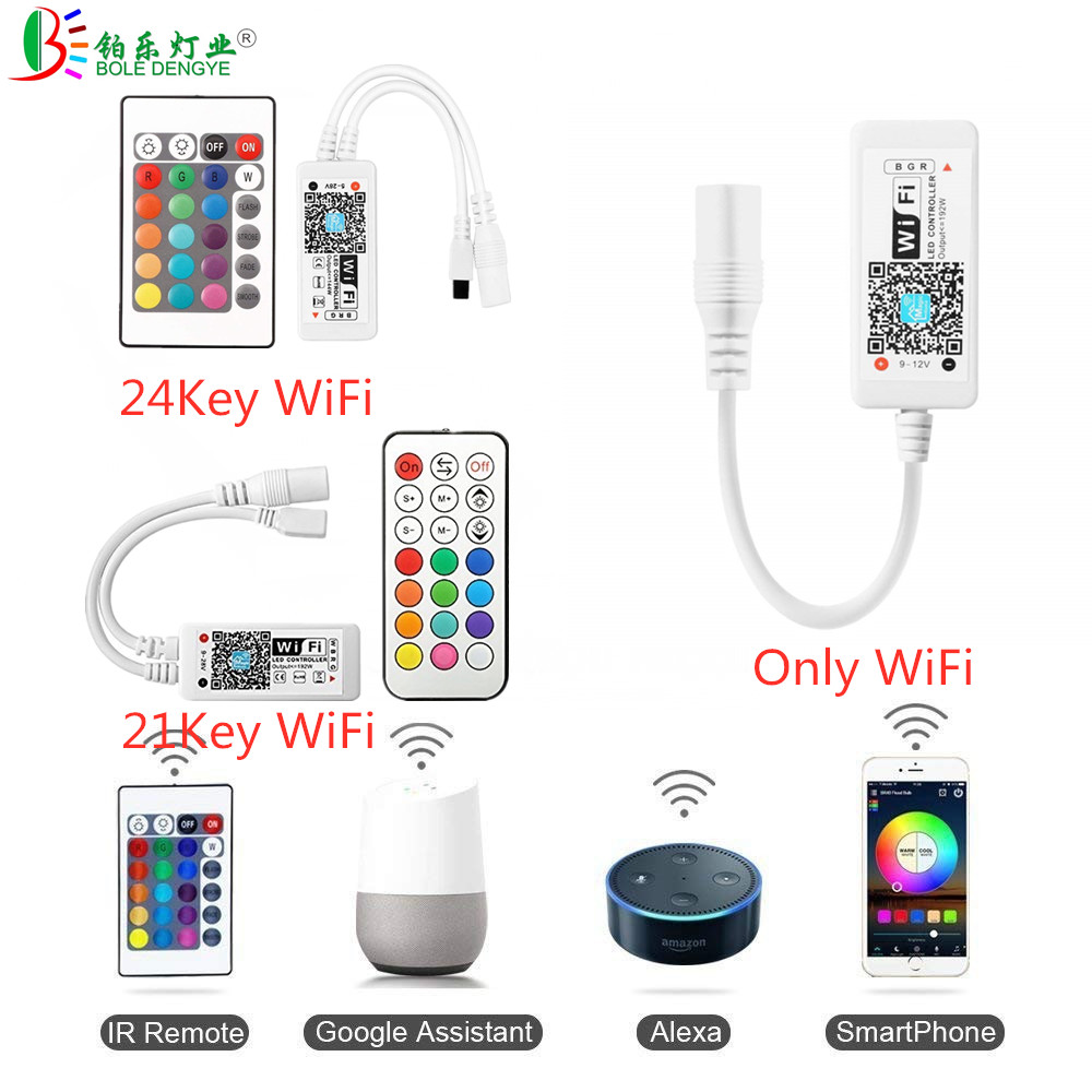 Image 3 - 5050 RGB LED Strip Phone Control Wireless WiFi Tape Works With Amazon Alexa Google Home IFFFT DC 12V Flexible Strip Light+Power-in LED Strips from Lights & Lighting