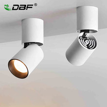 [DBF]Foldable LED Surface Mounted Ceiling light 7W 12W Black/White Housing 360 Degree Rotatable Spot Light Dimmable Ceiling lamp artpad modern 7w black ceiling surface mounted light cob led 360 degree rotatable spotlights living room coffee cloth shop led