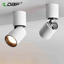 [DBF] składana lampa LED do montażu na suficie 7W 12W obudowa czarno biała 360 stopni obrotowe światło punktowe sufitowe z możliwością przyciemniania