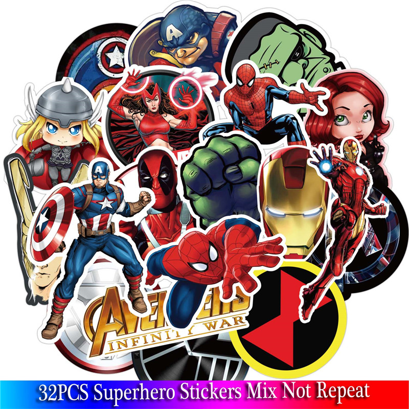 32pcs Super Hero Stickers Movies Character Sticker For DIY Guitar Luggage Phone