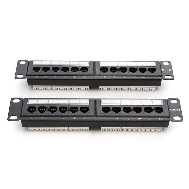 12 Port Cat6/Cat5e RJ45 Patch Panel UTP Ethernet LAN Network Adapter ...