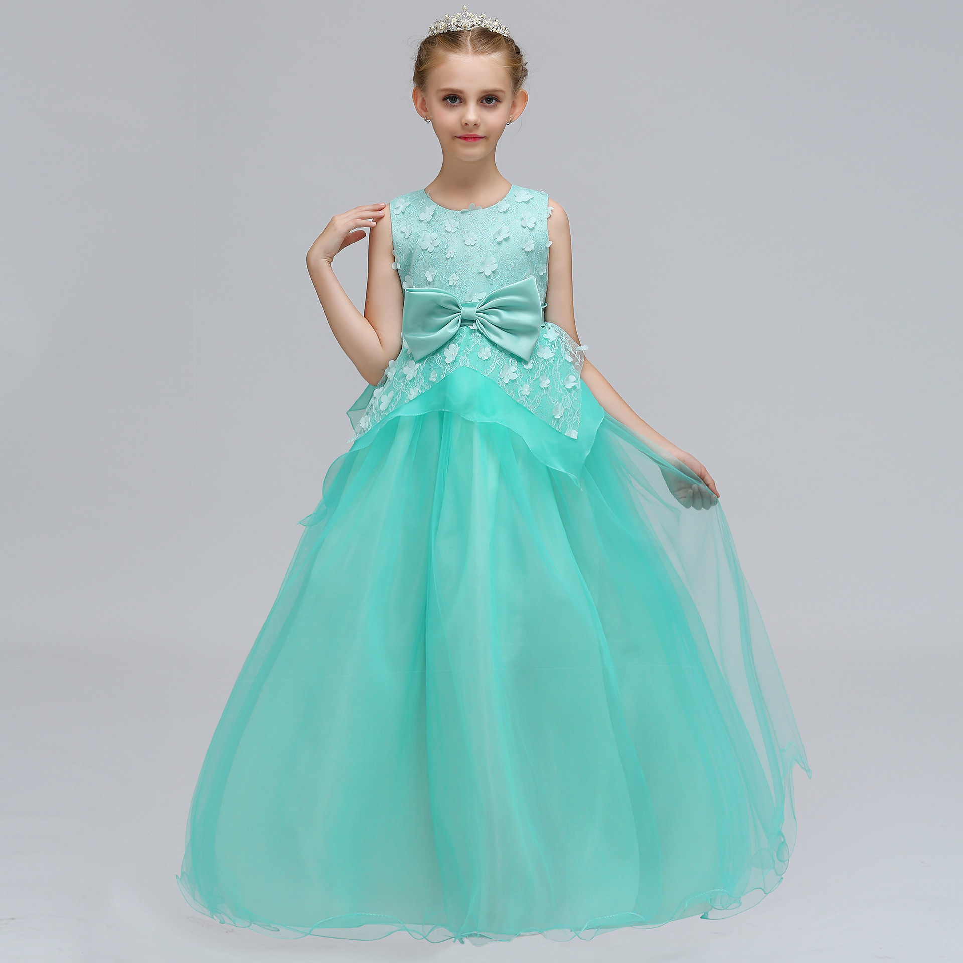 6354 Flowers Lace Embroidery Teen Girls Princess Party Wedding ...