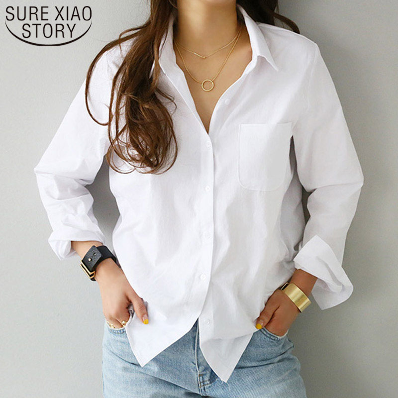 Camisas das mulheres e blusas 2019 Blusa Feminina Top Manga Comprida Casual Branco Turn-down Collar OL Estilo Mulheres Solto blusas 3496 50