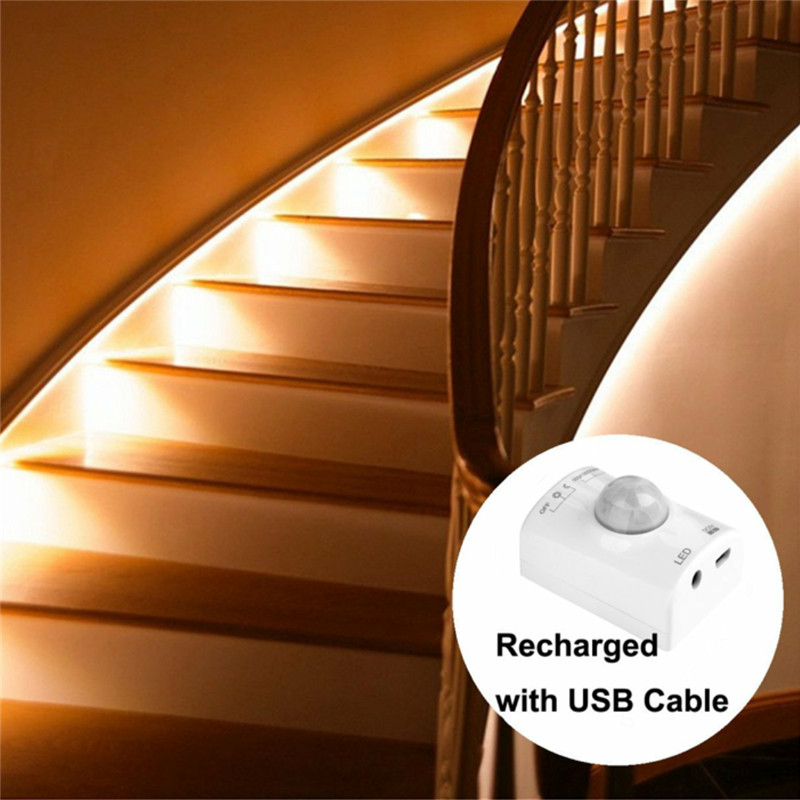 Motion Sensor USB Led Light Motion Activated Bed Light LED Strip Sensor Night Light Illumination with Automatic Shut Off Timer