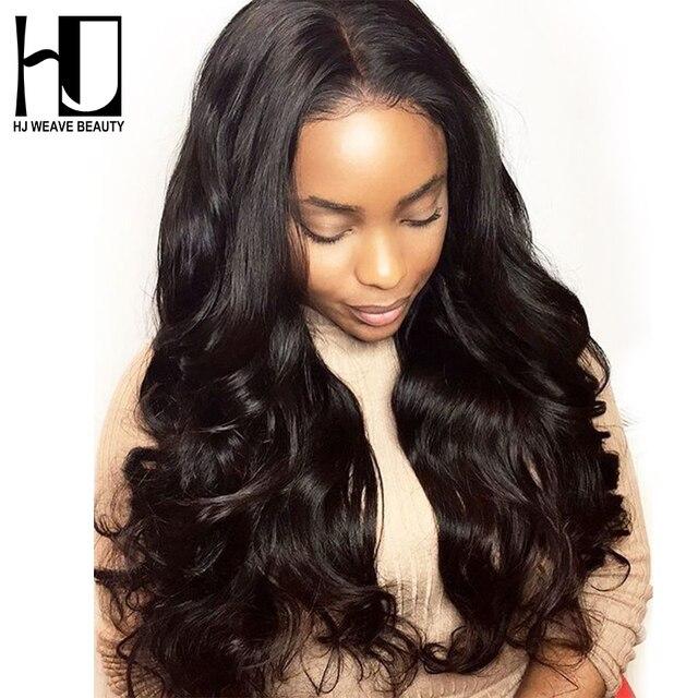 HJ de la belleza de la armadura de la frente de encaje pelucas de cabello humano de la onda del cuerpo brasileño Pre-arrancado con el pelo del bebé pelucas de pelo de la Virgen para las mujeres negras
