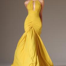 Новые Желтые шифоновые плиссированные Формальные Вечерние платья Длинные Холтер спинки вечернее платье