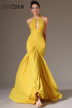 New Yellow Chiffon Pleated Formal Evening Dresses Long Halter Backless Evening Gown