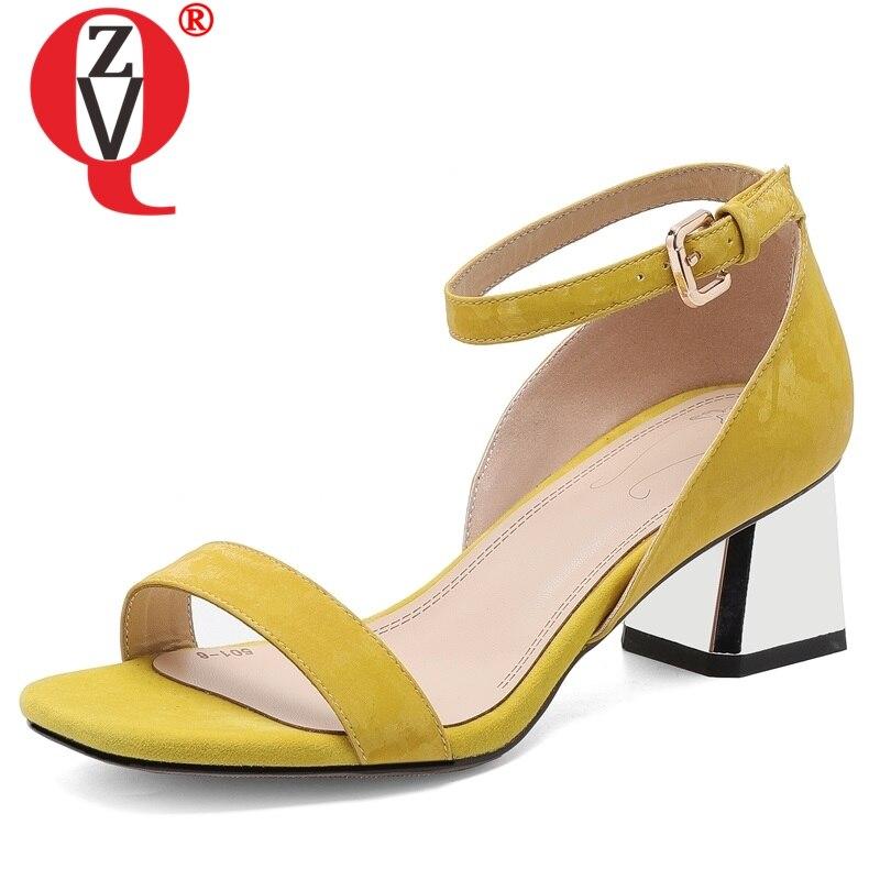 ZVQ Kantoor Dame schapenleer binnenzool vrouw sandalen zomer Comfort klassieke 5 cm med Cover Hakken Holle vrouwen schoenen-in Mddel hakken van Schoenen op  Groep 1