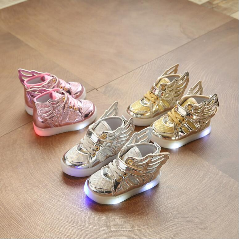 Spring 2018 New Children's Running Sports Shoes  Shoes Flashing Lights Wings LED Shoes For Boys Girls  Sneakers Size 21-36