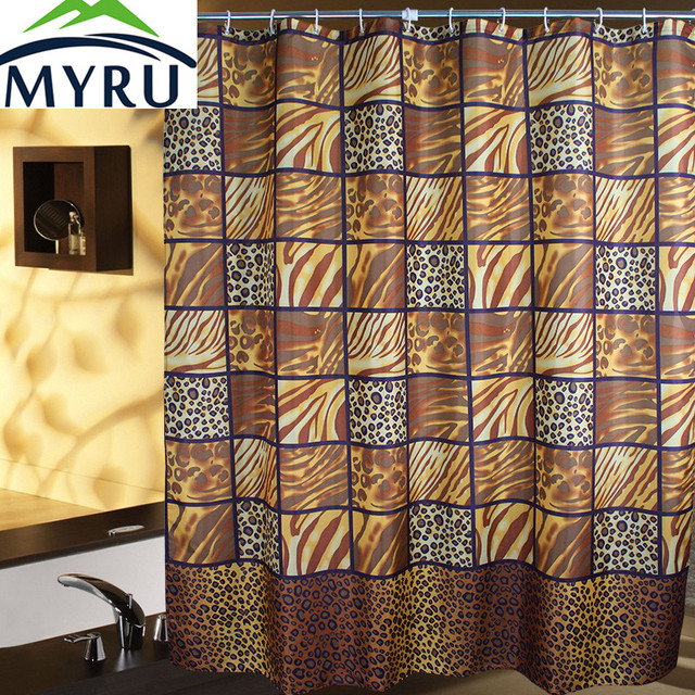 MYRU Time Limited Eco Friendly Shower Curtain New Leopard Print Waterproof  Mildew Polyester Bathroom