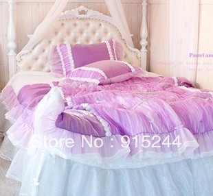 dream purple bedding 4pcs set bedskirt rose bow lace white wedding bedding twin full king queen - Purple Comforters