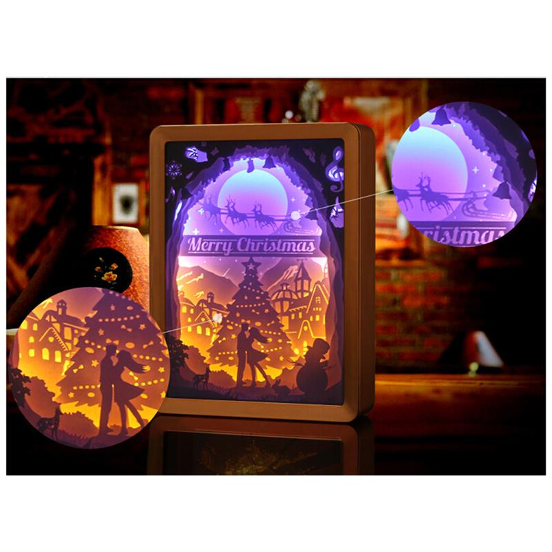 USB Creative Paper-Cutting Light Box 3D Shadow Christmas Couple Elk USB Night Lamp Art Decor For Nursery Bedroom