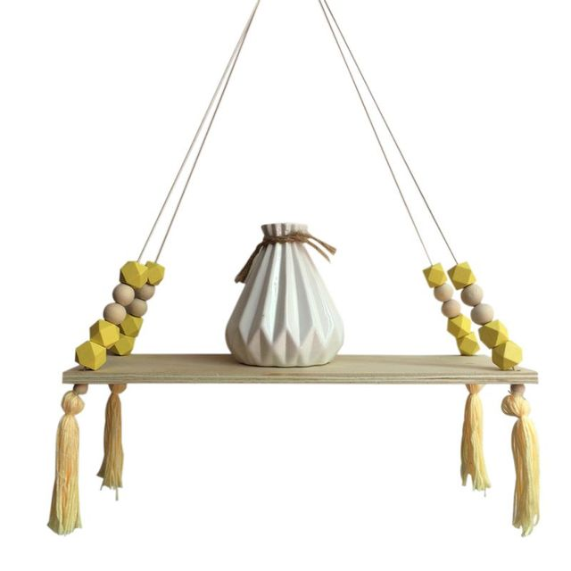 Creative Kids Room Wooden Beads Tassel Wall Shelf Room Storage Organization swing shelf Wall Hanging Decor 5