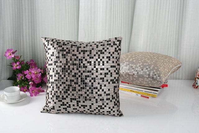 Jacquard Mosaic Black Grey Sofa Decoration Car Living Room Chair Back Pillow Cushion Cover