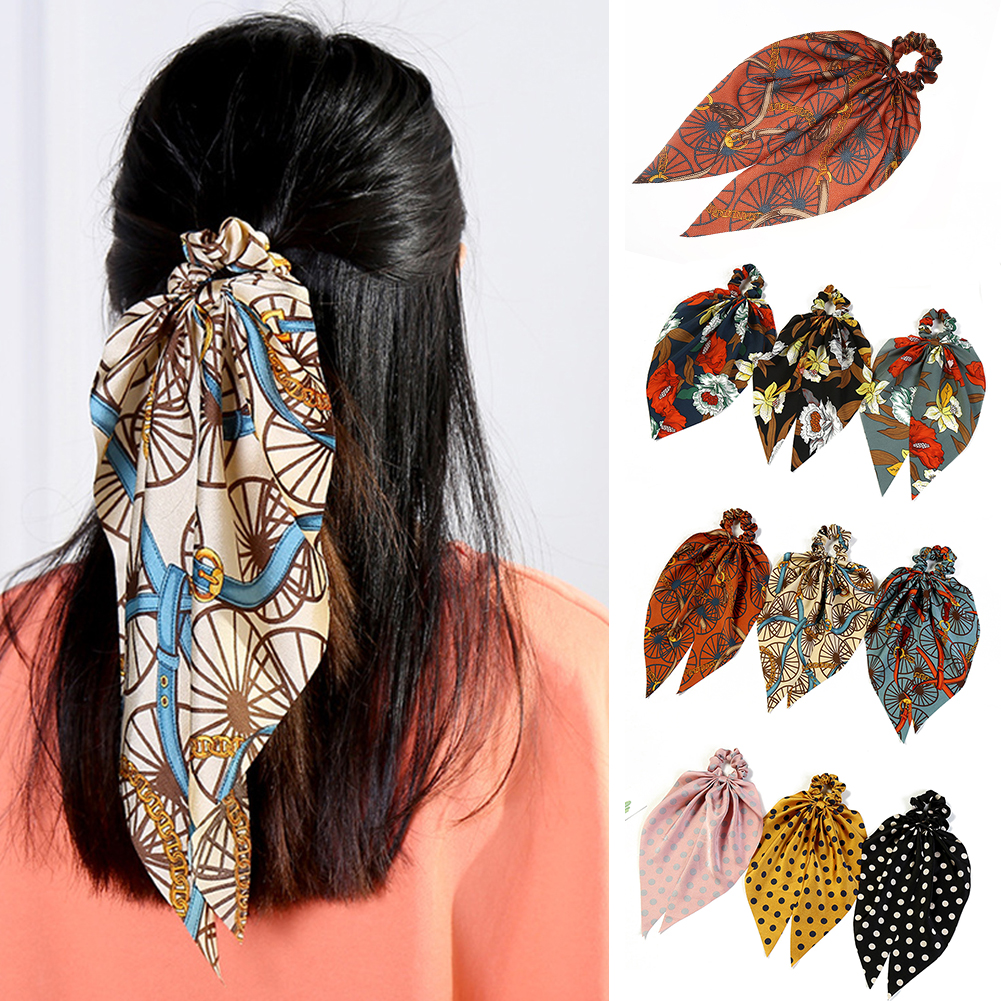 Elegant Polka Dot Floral Print Elastic Hair Ties DIY Knotted Bow Hair Scarf Women Girls Ribbon Bands Scrunchies Hair Accessories