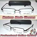Óptica Por Encargo lentes ópticas marco de aleación de Titanio semi-borde negro caballero gafas de Lectura + 1 + 1.5 + 2 + 2.5 + 3 + 3.5 + 4 a + 6