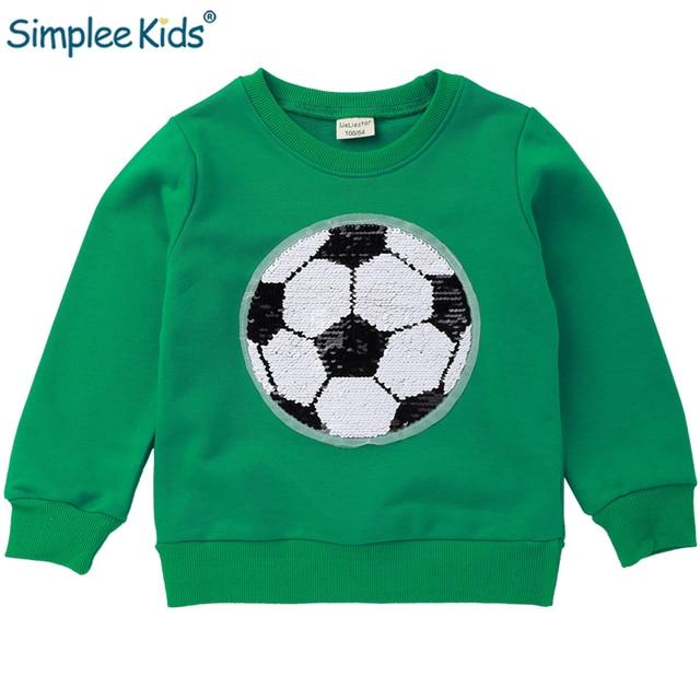 Camisolas para Meninos Das Meninas Bonito Divertido Futebol Blusa de lantejoulas Outono Inverno Roupas de Bebê para Crianças Crianças Hoodies Pulôver Tops