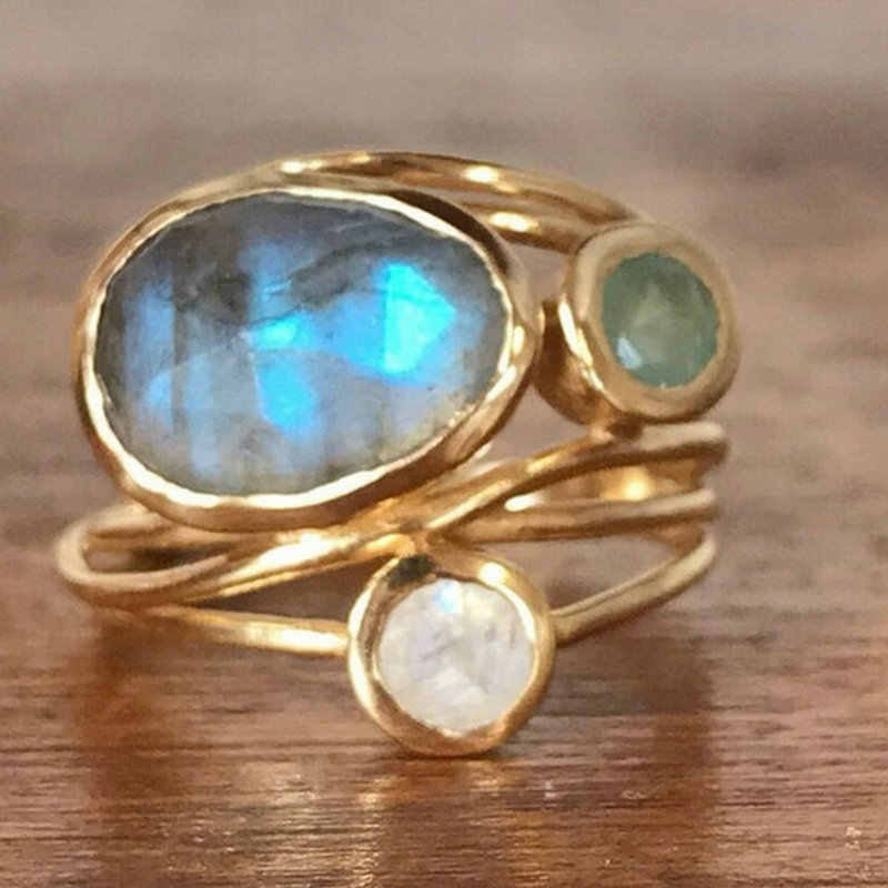 Women Unique 24K Gold Labradorite 3 Moonstones Aqua Blue Shell Ring Wedding Jewelry Gifts Size 6 7 8 9 10