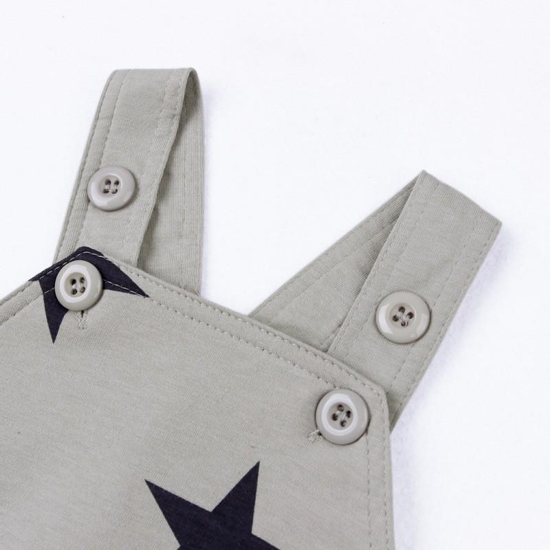 Baby Boys Baby Girls clothing set Newborn baby black grey striated T-shirt+ bib pants + hat stars pattern costumes suits (5)